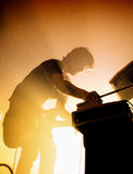 Midnight Juggernauts (electronic band) performs at Razzmatazz Club Stock Image