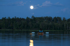Midnight Kayaking Royalty Free Stock Photography