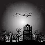 Midnight landscape with old house and trees Stock Photo