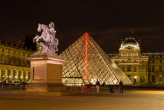 Midnight in Louvre Museum, Paris Royalty Free Stock Images