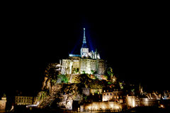 Midnight Mont Saint Michel Royalty Free Stock Photos