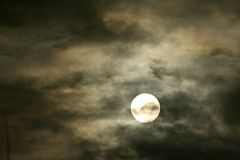 Midnight moon. During a storm Stock Image