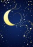 Midnight moon in stardust. Midnight moon, stardust and stars Stock Photo