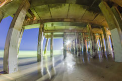 Midnight at nags head pier and beach Royalty Free Stock Image