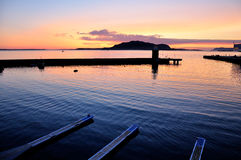 Norwegian port at midnight Stock Images