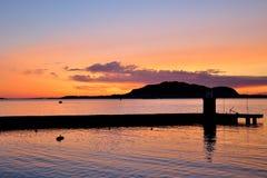Norwegian port at midnight Stock Photography