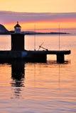 Norwegian port at midnight Stock Image
