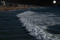Midnight Ocean Swim In The Moonlight Stock Images