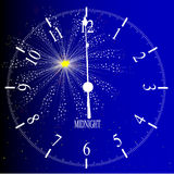 Midnight. An old English office type clock face over a new year firework Stock Photos