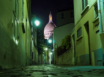 Sacre coeur Paris street night Royalty Free Stock Image
