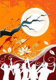 Midnight Party. People dancing in a full moon floral background vector illustration