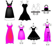 Midnight pink dresses. A set of mod dresses , party dresses and a boutique Royalty Free Stock Images