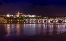 Midnight Prague. View from Moldava river side Stock Photo