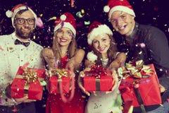 Midnight present exchange stock photo