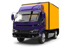 Midnight purple small box truck with yellow trailer. Isolated on white background Stock Photos