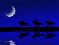 Midnight Riders. Photoshop drawing of three people riding horses on a moon-lit night Royalty Free Stock Images