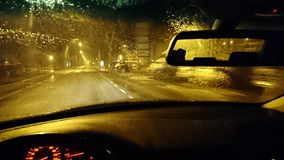 Midnight Road. Road out of the car in a rainy midnight Stock Photography