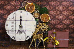 Midnight's clock with Christmas deer Stock Photos