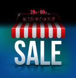 Midnight sale banner awning. Royalty Free Stock Image