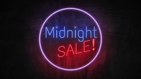 MIDNIGHT SALE neon light on wall. Sale banner blinking neon sign style for promo video. concept of sale and clearance