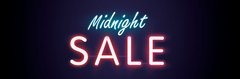Midnight sale neon style heading design for banner or poster.  Stock Photos