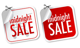 Midnight sale stickers Royalty Free Stock Image