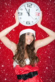 Midnight, santa girl, snowing Royalty Free Stock Photos
