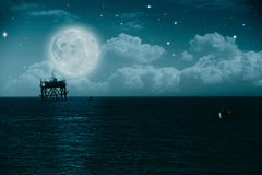 Midnight on the sea. Environmental backgrounds royalty free illustration
