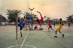 Midnight sport. Extraordinary sport in Pakse (Laos Stock Photos