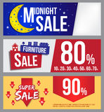 Midnight sprzedaż, meblarska sprzedaż i super sprzedaż sztandar dla reklamy, Zdjęcie Stock