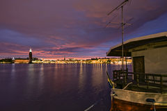 midnight stockholm sun Royaltyfri Bild