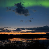 Midnight summer Northern lights Aurora borealis Royalty Free Stock Photos