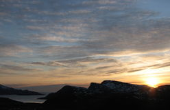 Midnight sun. In the arctic region of Norway. The photo was taken near Tromsø (ca 70 degrees north) just before midnight, in late May Stock Photography