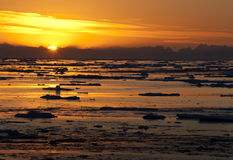 Midnight Sun in the Arctic Ocean Stock Image