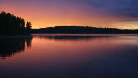 Midnight sun lake. Finnish lake on summer night stock images