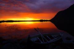 Midnight sun. At Lofoten islands Royalty Free Stock Photos