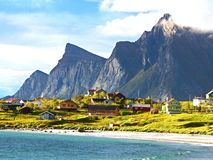 Midnight sun at the Lofoten in northern Norway stock image