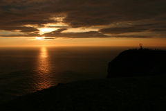 Midnight Sun at the North Cape #2. The Famous North Cape in Norway ad midnight (nordkapp Stock Image
