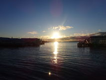 Midnight sun. In Northern Norway (Vardø&#x29 Royalty Free Stock Images