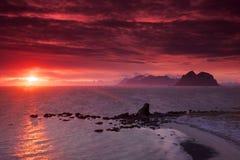 Midnight sun in Norway Stock Image