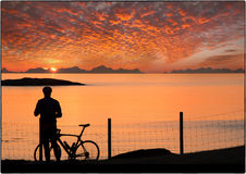 Midnight sun Norway Stock Photo