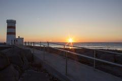Midnight Sun setting at Gardur Royalty Free Stock Images