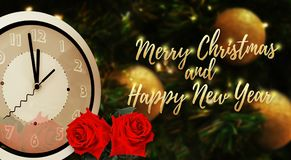 Midnight time of Merry Christmas and Happy New Year golden font. With two red roses on Christmas blur background stock image