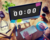 Midnight Time Tomorrow Timing Concept. People Looking Clock Midnight Time stock photo