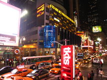 Midnight traffic jam in Times Square Royalty Free Stock Photography