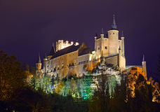Midnight view of Alcazar of Segovia Royalty Free Stock Images