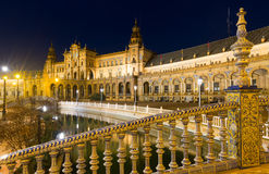 Midnight  view of  Plaza de Espana. Seville, Spain Stock Photo