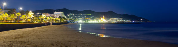 Midnight view of seaside in Sitges Royalty Free Stock Image