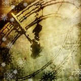 Midnight, xmas design. Background xmas design, old paper with clock and snow Royalty Free Stock Photo