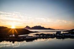 Midnightsun in Lofoten Stock Image